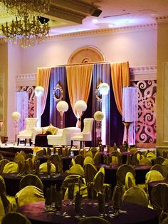 Eggplant and gold with pearl curtains and gold accents at Chandni Convention Centre Brampton.  fccdecor.com for affordable event decor in GTA