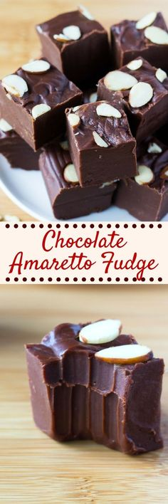 Smooth, creamy, decadent Chocolate Amaretto Fudge is the perfect grown-up dessert. Infused with a hint of almond, it's deliciously rich and decadent.#chocolatefudge #amarettofudge #chocolatealmondfudge