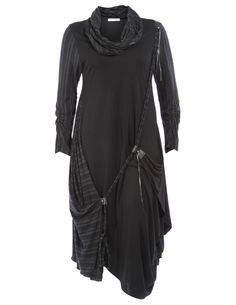 Tencel dress with loop scarf in Black / Dark-Grey designed by Parmilon to find in Category Dresses at navabi.de