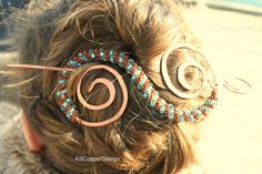 Hair ForkHair AccessoriesLarge Hair ClipCopper by ASCopperDesign Hair Cuffs, Copper Hair, Hair Slide, Glass Beads, Gifts For Her, Hair Accessories, Earrings, Etsy, Jewelry