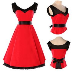 Red Cotton Sleeveless Swing Full Flare Jive Vintage Party Prom Rockabilly Dress | eBay