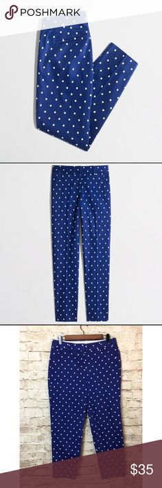 "J. Crew Blue Polka Dot Skimmer Pant Excellent condition. Small snag on side hem, see pictures. Comes from a smoke free and pet free home. If you have any questions about the item, please contact me to further assist.     Size: 4  Material: 98% Cotton/ 2% Spandex  Dimensions:  Length: 33""  Inseam: 25""  Rise: 8 1/2""  Waist: 30"" J. Crew Pants Ankle & Cropped"