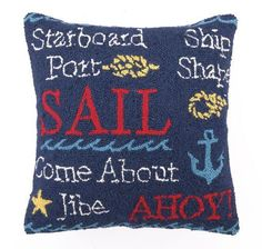 I love nautical decorative throw pillows, they are  absolutely charming, adorable and super cute.  Also very trendy right now as beach, coastal and tropical home décor are  crazy popular right now. These would  look stylish on a couch, bed or chair and perfect for a bedroom or living room.        Peking Handicraft Nautical Sail Hook Throw Pillow