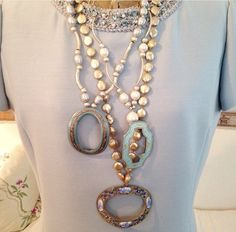 French belt buckles (@1930) with Sterling silver and freshwater pearls.