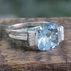 Novica Handcrafted Sterling 'India Royal' Topaz Zirconia Ring