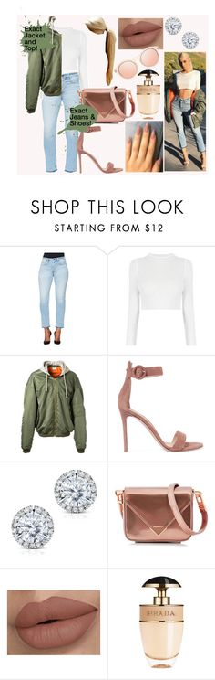 """kylie Jenner Steal Her Style"" by laurajessica ❤ liked on Polyvore featuring Vetements, Gianvito Rossi, Kobelli, Alexander Wang, Prada and Le Specs"