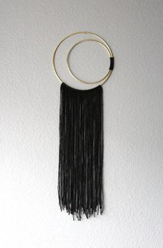 Waning / Waxing Crescent Moon Double Hoop Dreamcatcher Small Black Macrame BedRoom Decor - One of a kind item. Vegan: No animal or animal bi-products are used.