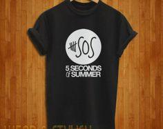 5SOS Shirt, 5 SOS Shirt, 5 Second Of Summer Shirt, Logo, Black Or White Color Shirt, Code : wsa-5sos-1/2