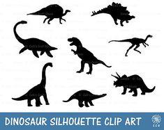 Dinosaur Silhouette Digistamps/Clipart Set - INSTANT DOWNLOAD