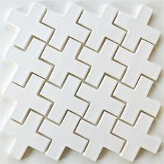 "White 4"" Ceramic Tile Mosaic Plus Milk   modwalls Designer Tile"