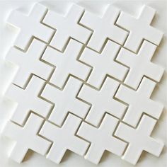 "White 4"" Ceramic Tile Mosaic Plus Milk 