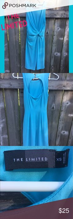 The Limited Light Blue Dress Beautiful spring colored dress. I sadly outgrew it. Lovely knot around the waist area to give you the perfect hourglass shape. Small opening in the back. Perfect for work, church or spring/summer party. The Limited Dresses