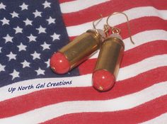 FREE SHIPPING TO THE USA  40 Caliber Bullet Earrings, Rose Quartz Jewelry, Red Bead Earrings, Hillbilly Earrings, Redneck Jewelry, Michigan