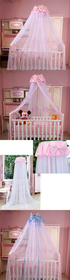 Canopies and Netting 180905 Hanging Baby Mosquito Net Princess Crib Netting Bed Canopy With Bowknot & Canopies and Netting 180905: Kids Baby Cot Bed Mosquito Net ...
