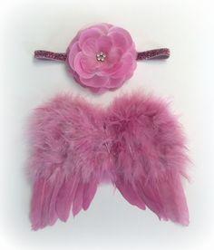 Baby Angel wings & Headband set, dusty pink. Ready to ship. Great newborn photography prop. $30.00, via Etsy.