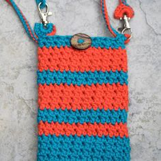 Large Cross Body Cell Phone Cozy with Removable Straps, Apple iPhone 6 Plus or Samsung Galaxy 6 Crochet Wristlet in Coral and Turquoise