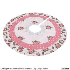 Cottage Chic Pink Roses Christmas Tree Skirt