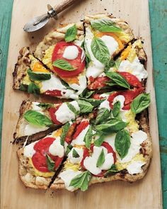 Grilled Pizza with Cheesy Corn, Fresh Tomatoes, and Basil.