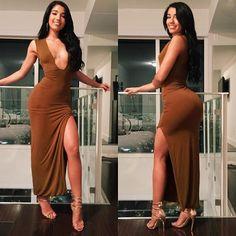 New Sexy Women Maxi Long Dress Plunge V Neck Side Split Sleeveless Solid Bodycon Slim Cocktail Party Clubwear Coffee