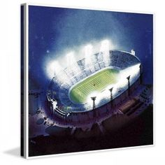 Marmont Hill Football Stadium at Night by Wesley Neff Painting Print on Canvas, Size: 40 inch x 40 inch, Multicolor