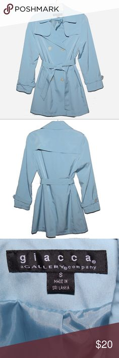 Beautiful blue all weather trench coat Pretty double breasted belted light blue trench coat perfect for the office. Giacca Jackets & Coats Trench Coats