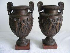 2 gr. Vasen Bronze Klassizismus Empire Biedermeier Grand Tour Antike 1800