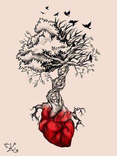Tree Heart Birds DNA Tattoo by Elvina-Ewing on DeviantArt Dna Tattoo, Tattoo Life, Body Art Tattoos, Roots Tattoo, Fox Tattoos, Raven Tattoo, Samoan Tattoo, Polynesian Tattoos, Sleeve Tattoos