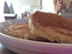 Betty Crocker pancakes, added 1 mashed banana to make them moist. Yum!