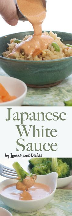The recipe for the famous Japanese White Sauce served in Japanese Steak Houses!  Yum Yum Sauce, Benihana Sauce, Shrimp Sauce - you know it by many names.  Homemade with garlic powder.  Perfect over stir fry rice and vegetables! via @loavesanddishes