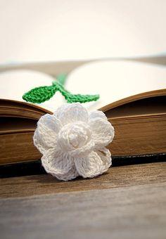 Pretty!  Crocheted Flower Bookmark White Gardenia Flower Handmade. $15.00, via Etsy.
