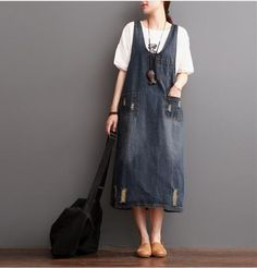 Dark Blue Hole Painter Cowboy Suspender Dress Oversize Causel Women Clothes