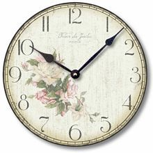 Item C2044 Vintage Style Faded Roses Clock