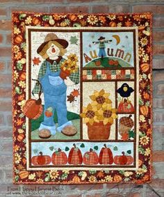 Autumn Wallhanging in the Happy Harvest book by Kelly Mueller of The Wooden Bear. Fall Sewing, Halloween Quilts, Fall Quilts, Sampler Quilts, Applique Quilts, Patch Quilt, Quilted Wall Hangings, Mini Quilts, Rugs