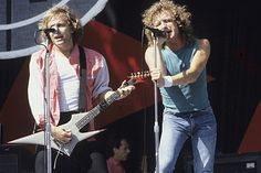 Mick Jones and Lou Gramm performing with 'Foreigner' at the Oakland Coliseum in California on August 18, 1982. photo Larry Hulst