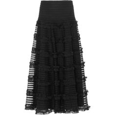 Red Valentino     Crepon Skirt With Point D'Esprit And Embroidered... ($1,350) ❤ liked on Polyvore featuring skirts, ruffled skirt, overlay skirt, sheer skirts, striped skirt and high-waist skirt