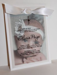 Olivia Baby Photo Baptism Invitation by DivoneDesign on Etsy Christening Party, Christening Invitations, Baptism Party, Baby Party, Baptism Photos, Baptism Ideas, Invitation Design, Baptism Reception, Baby Shower Decorations