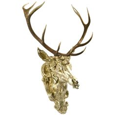 Gilt Stag Head | 1stdibs.com