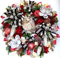 Elegant Owl Wreath Christmas Wreath Holiday Wreath