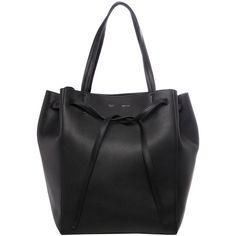 Celine Medium 'Cabas Phantom' Grainy Leather Tote (€1.880) ❤ liked on Polyvore featuring bags, handbags, tote bags, delete, celine, leather tote handbags, leather purses, leather handbags, celine handbags and expandable tote