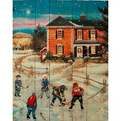 "HadleyHouseCo 'Country Christmas II' by Patricia Bourque Painting Print on Plaque Size: 14"" H x 11"" W x 2"" D"