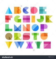 Geometric shapes alphabet letters. Vector.