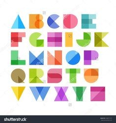 Geometric shapes alphabet letters. Vector.