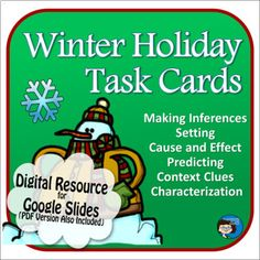 Winter Holiday Task Cards Digital Resource - Distance Learning | TpT Close Reading Activities, Teaching Reading, Learning, Christmas Language Arts, Making Inferences, Context Clues, Cause And Effect, Reading Skills, Task Cards