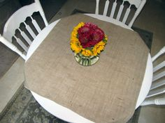 Burlap Overlay Table Square