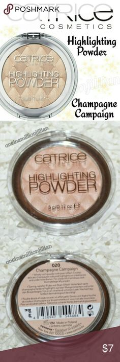 Catrice Cosmetics Highlighting Powder - Champagne New - Never Used (Swatches from Google)  Full Sz & Authentic  Color: 20 Champagne Campaign  Get Glowing! The Catrice Highlighting Powder comes as a soft & velvety powder with a pearl effect. This innovation leaves radiant light reflections as well as a soft glow on the skin.   Apply to all the areas of the face that want to shine a bit brighter - cheekbones, brow bone & inner corner of the eye. Paraben free. Not tested on animals.  Check out…