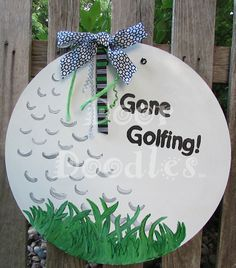 Items similar to Gone Golfing! Front door decoration hanger Dad Father's Day gift Grandpa, Grandfather on Etsy Back Painting, Painting On Wood, Burlap Crafts, Wood Crafts, Homemade Signs, Burlap Door Hangers, Wood Cutouts, Front Door Decor, Paint Party