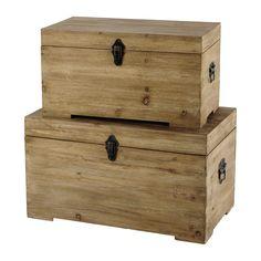 2 malles en bois L 59 cm et L 69 cm CHALET