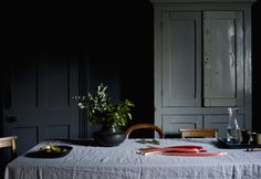 Styling by Hannah Cork. Shot by Jon Aaron Green. Dark and moody interior with blush pink and brass accents. Aaron Green www. Interior Stylist, Blush Pink, Cork, Brass, Boutique, Green, Design, Style, Light Rose