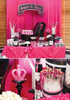 Sweet & Juicy Sixteenth Birthday party with gumball pearl bracelets, crowns, chocolate nail polish candy, lipstick birthday cake & VIP pass.