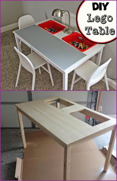 DIY Lego table made from IKEA Ingo Dining Table and IKEA Trofast buckets. The post Creative Lego Storage Ideas appeared first on Children's Room. Lego Bedroom, Bedroom Themes, Bedroom Ideas, Baby Bedroom, Bedroom Table, Bedroom Art, Table Lego Diy, Lego Desk, Lego Table With Storage